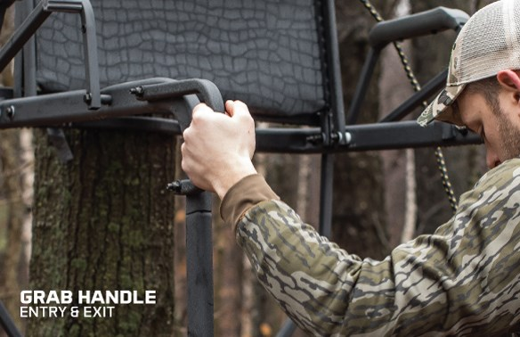 Ladderstand safety grab handle easy entry and exit hawk hunting